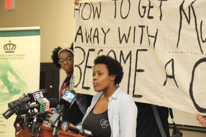 Ashley Williams at Community Relations Press Rally