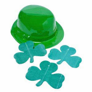 close-up of a St. Patrick's day hat and shamrock