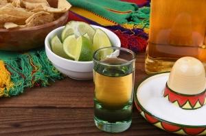 Close-Up Of Tequila Shot And Lime