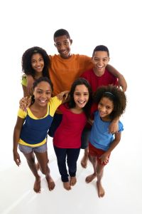 Group of teenagers embracing